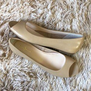 Cole Haan Nude Peep Toe Flats